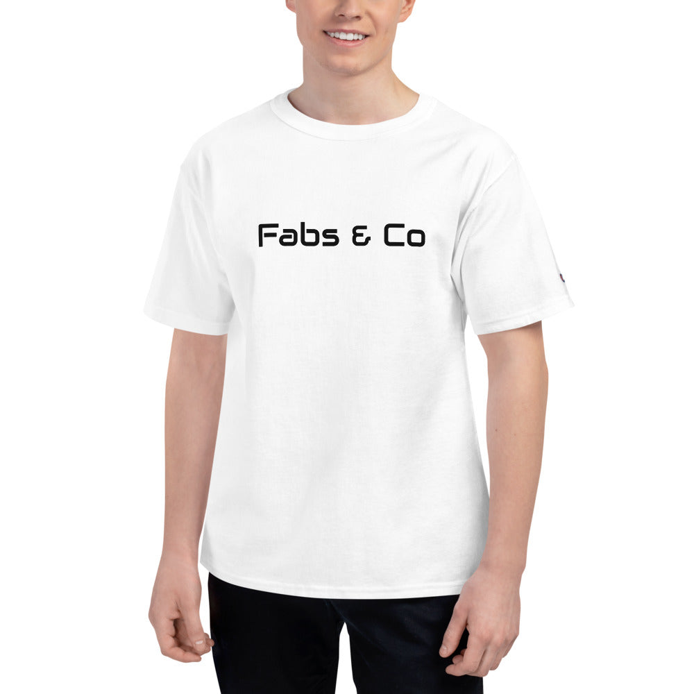 Fabs & Co x Champion Black Wordmark Logo Mens T-Shirt