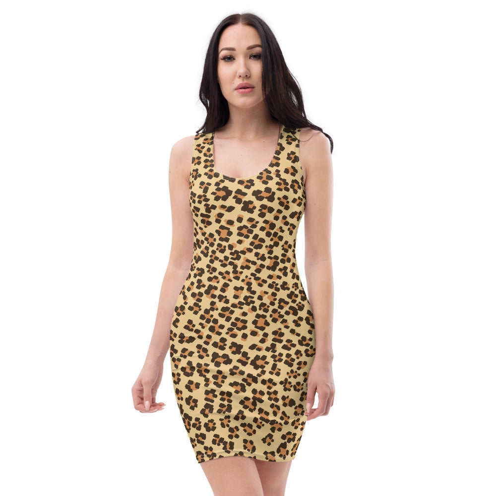 Leopard Print Womens Sleek Dress