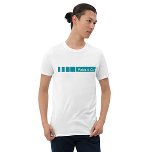 Teal Fade Stripe Wordmark Logo Mens T-Shirt