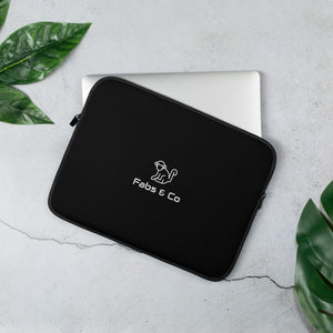White Original Logo Black Laptop Sleeve
