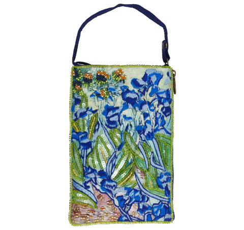 Van Gogh's beautiful Blue Irises adorn this Club Bag in a mix of both hand beading and embroidery. Great gift for the fashion accessory in your life.