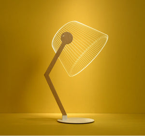 angled lamp, flat, laser-engraved sheet of acrylic glass and hidden LED elements.