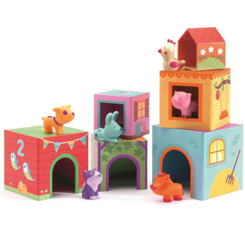 child toy, vinyl animals, chicken, rabbit, cat, pig, dog, cow, cardboard stackable play boxes