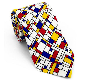 Elements of Cubism, Abstract Art, and Modernism influenced necktie design. Red, blue, yellow, black and white. 100% Silk