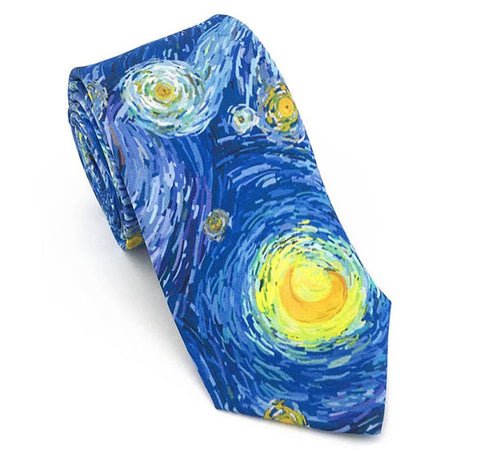 Starry Sky Necktie, Blue and Yellow , 100% Silk, Phillips Collection Museum
