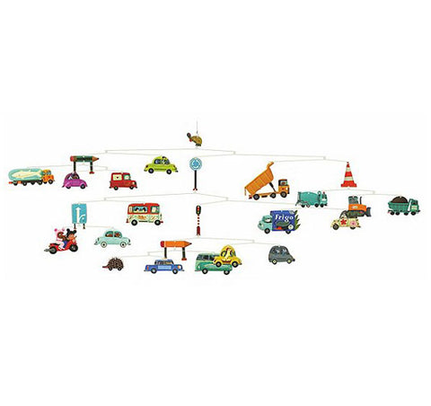 paper and wire construction, car and truck shapes, mobile