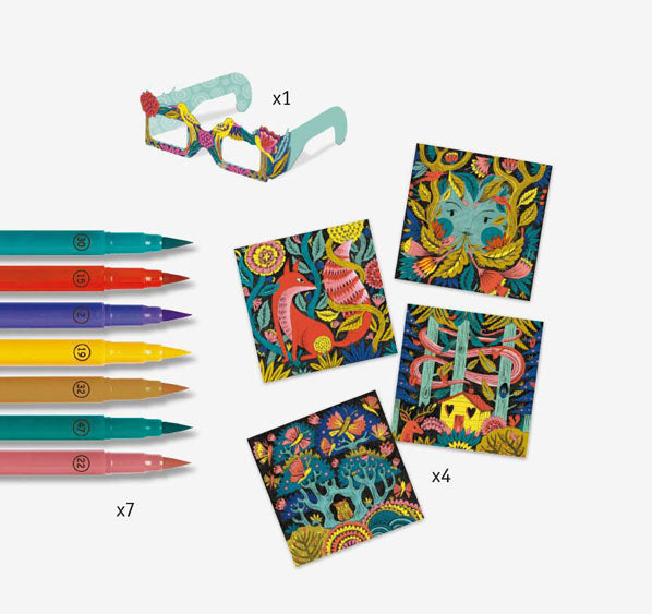 kit materials, paper glasses, markers, coloring cards