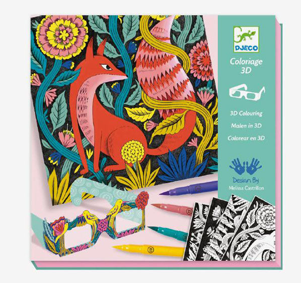 3-D coloring card kit, fantasy forest