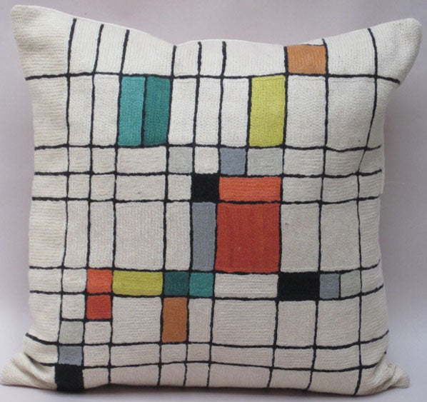 Pillow, multi-color, square pattern, off-white background color, cotton canvas shell with hand sewn wool thread.