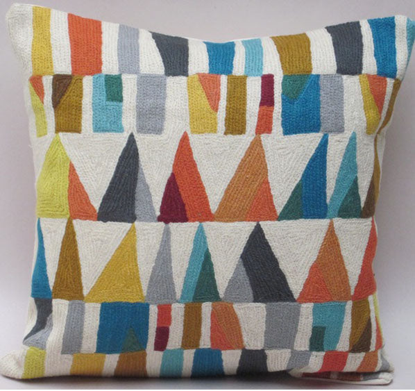 Pillow, multi-color, triangle pattern, off-white background color, cotton canvas shell with hand sewn wool thread.
