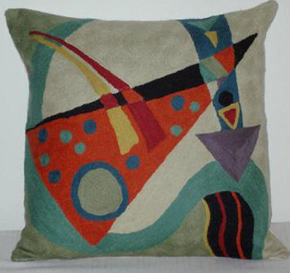 Pillow, multi-color, off-white  and light green background color, geometric shapes, cotton canvas shell with hand sewn wool thread.