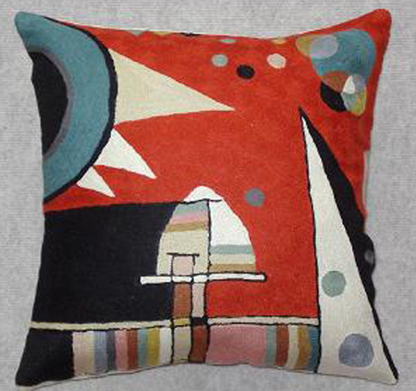 Pillow, multi-color, geometric shapes, burnt orange background color, cotton canvas shell with hand sewn wool thread.