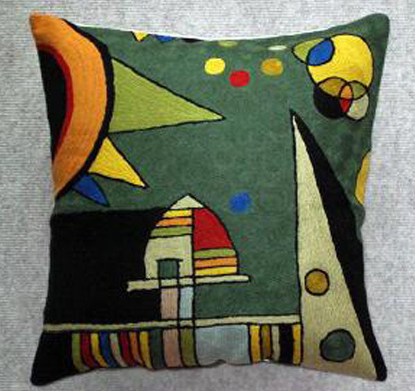 Pillow, multi-color, dark green background color, cotton canvas shell with hand sewn wool thread.