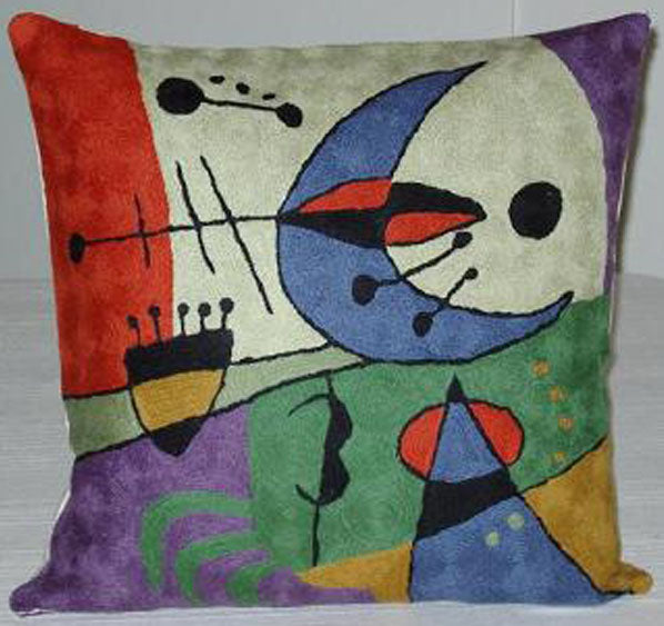 Pillow, geometric shapes, multi-colored, cotton canvas shell with hand sewn wool thread.