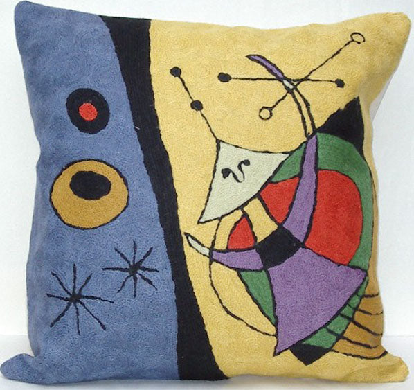 Pillow, geometric shapes, cotton canvas shell with hand sewn wool thread.