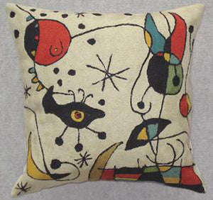 Pillow, multi-color, off-white background color, geometric shapes, cotton canvas shell with hand sewn wool thread.