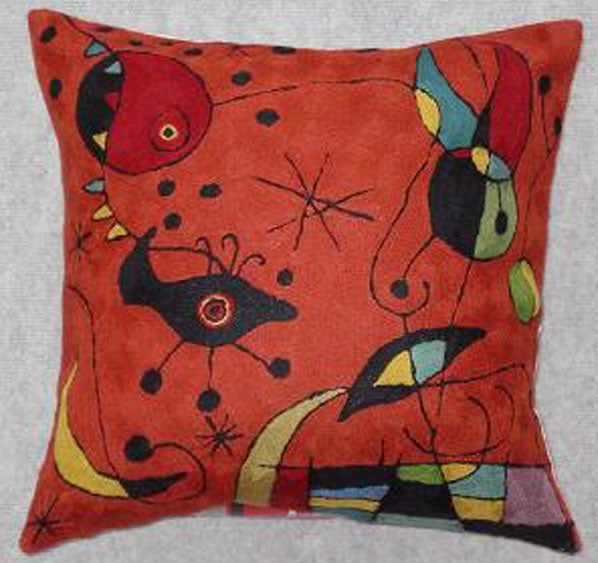 Pillow, multi-color, burnt orange background color, geometric shapes, cotton canvas shell with hand sewn wool thread.