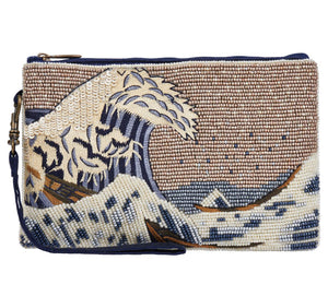 The Great Wave by artist Hokusai is shown in both embroidery and hand beading on this Club Bag. A great gift for the art and fashion accessory lover in your life.