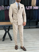 Load image into Gallery viewer, Ferrar Shimmer Double Breasted Cream Suit