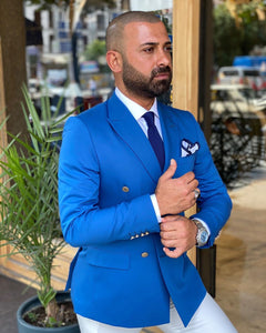 Napoli Double Breasted Light Blue Suit