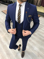 Load image into Gallery viewer, Ferrar Shimmer Navy Blue 3 Piece Suit