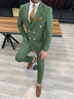 Load image into Gallery viewer, Ferrar Shimmer Double Breasted Olive Green Suit