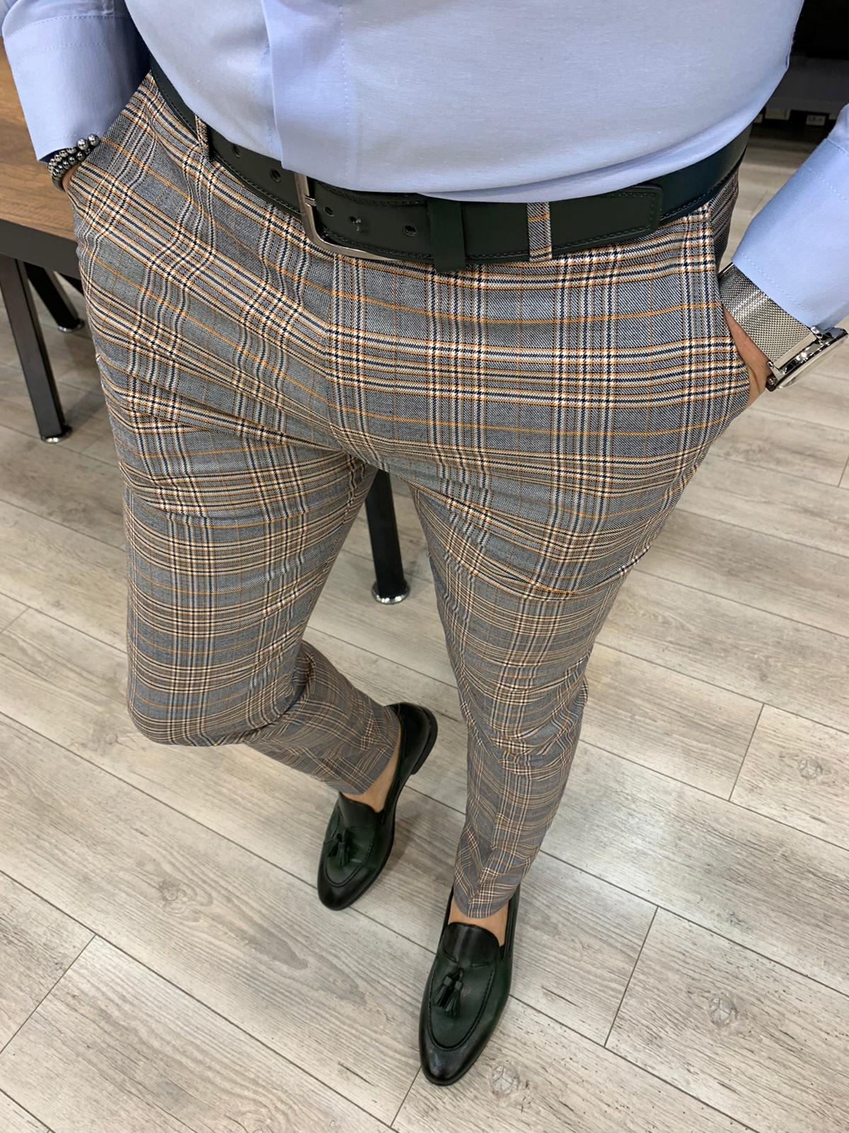 Ferrar Shimmer Khaki Plaid Pants