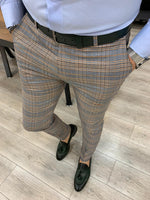 Load image into Gallery viewer, Ferrar Shimmer Khaki Plaid Pants