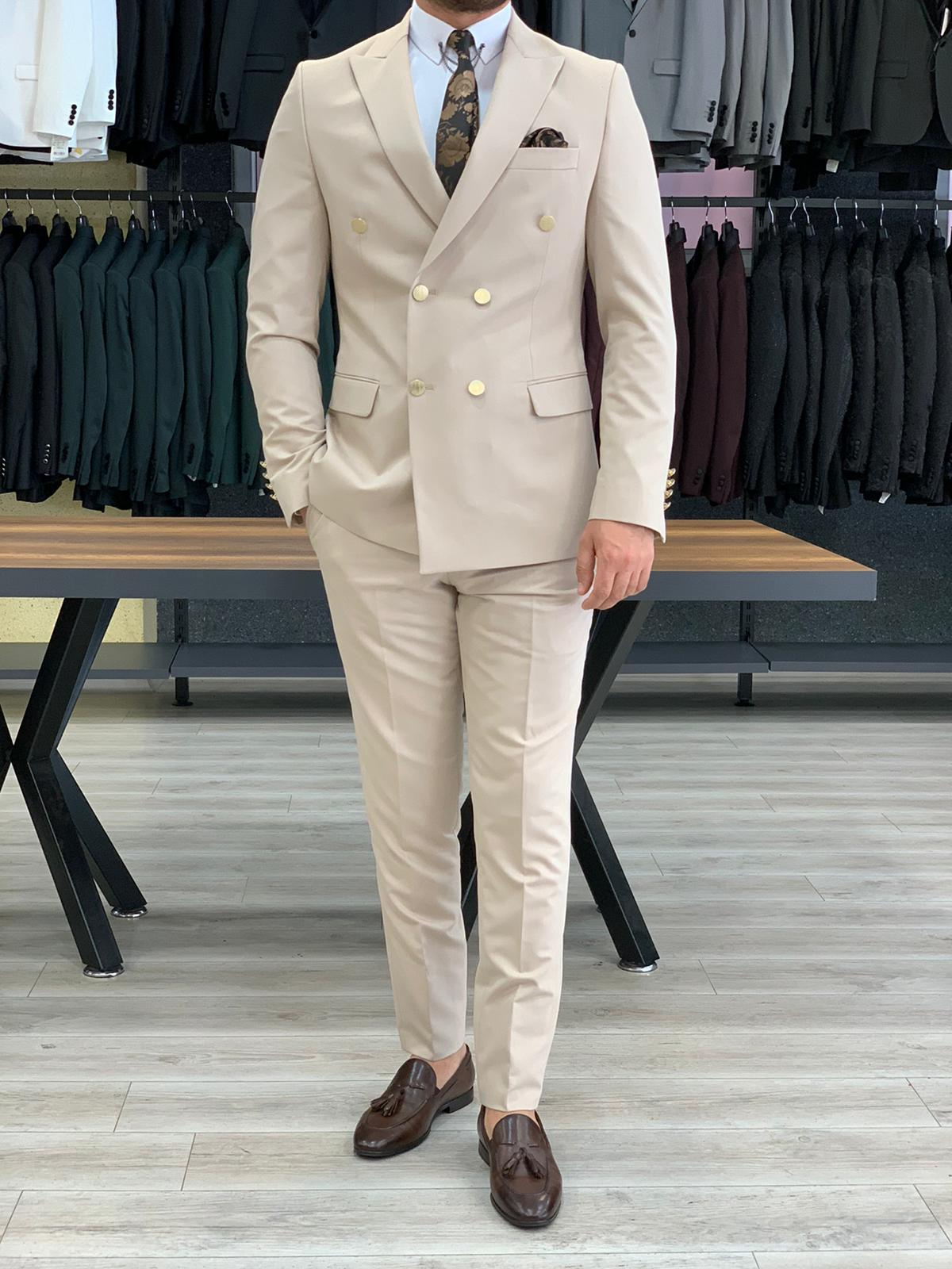 Ferrar Shimmer Double Breasted Cream Suit