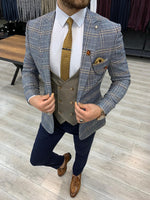 Load image into Gallery viewer, Ferrar Shimmer Blue Plaid 3 Piece Suit