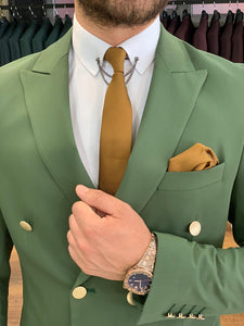 Ferrar Shimmer Double Breasted Olive Green Suit