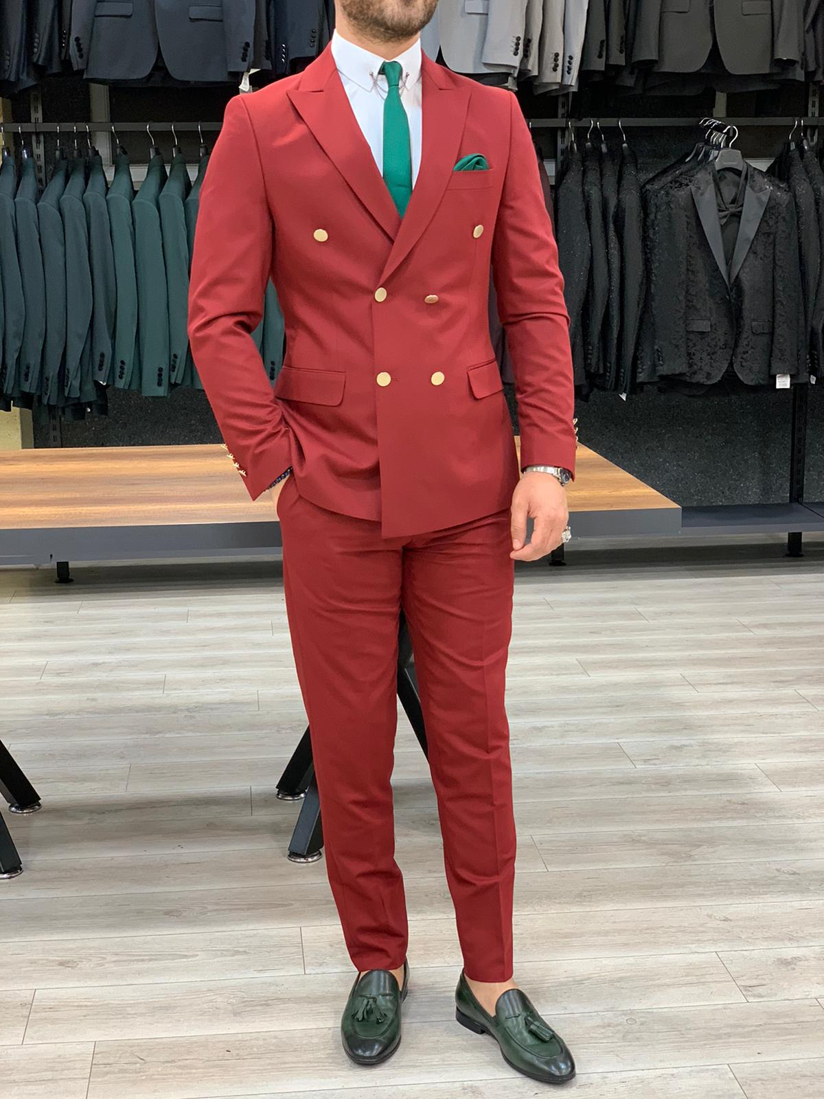 Ferrar Shimmer Double Breasted Dark Red Suit