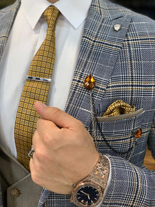 Ferrar Shimmer Blue Plaid 3 Piece Suit