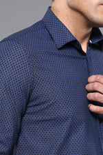 Load image into Gallery viewer, Navy Blue Patterned Shirt