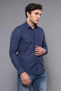 Navy Blue Patterned Shirt