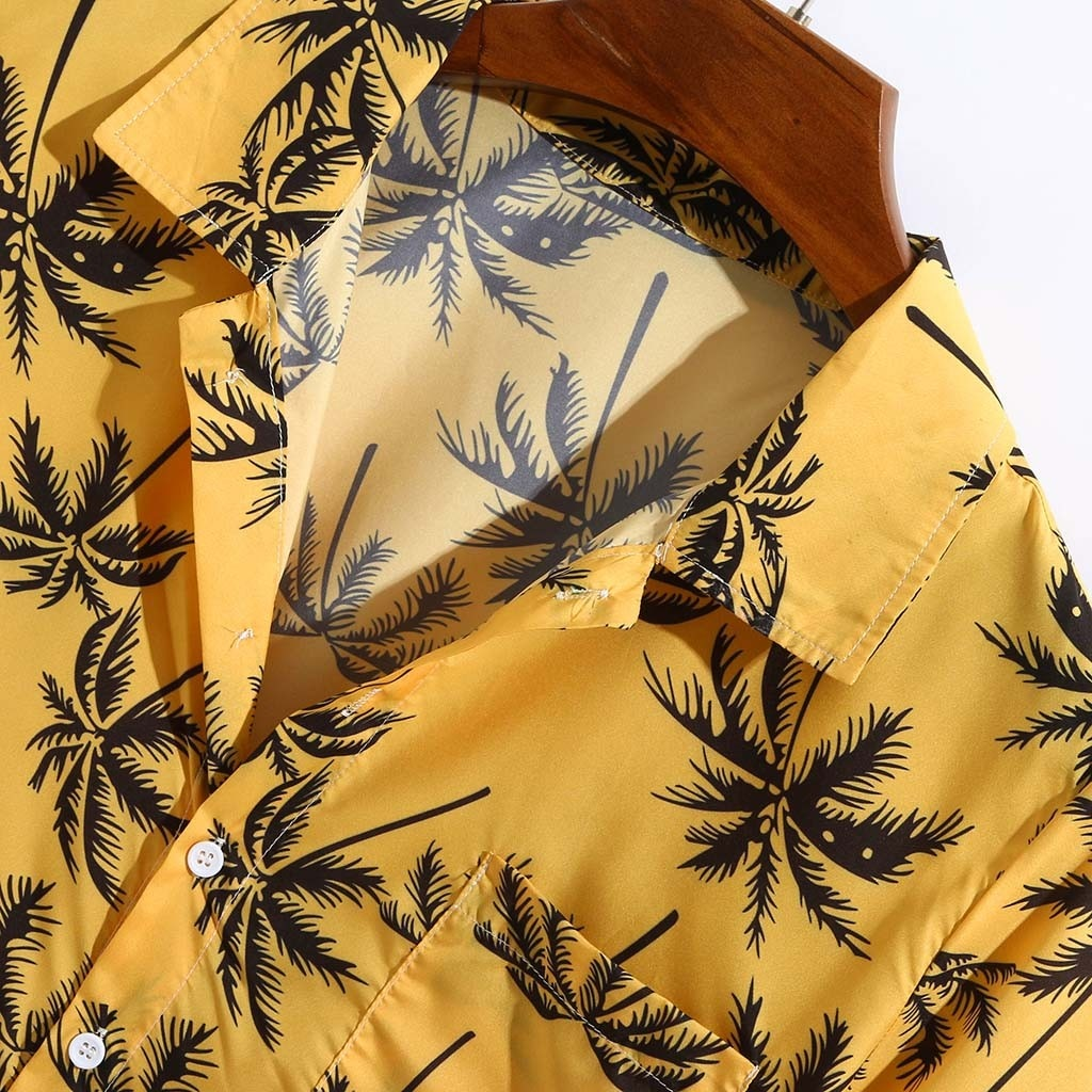 Yellow Printed Hawaiian Shirt