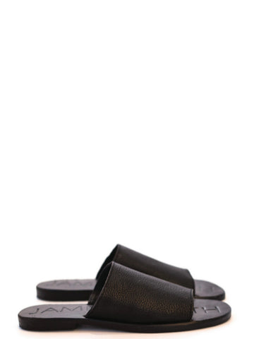 JAMES SMITH Leather Pool Slide All Black
