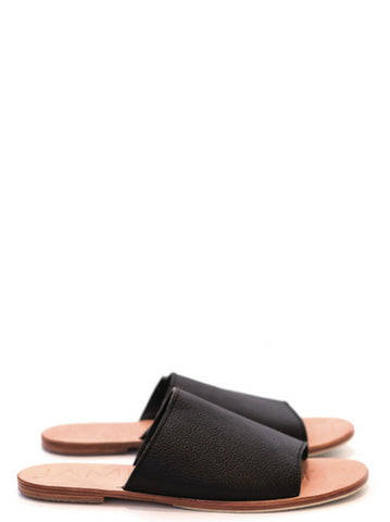 JAMES SMITH Leather Pool Slide Black/ Natural