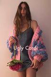 The Knitter Ugly Cardigan Blue Pink
