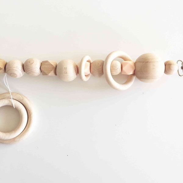 Bezisa Wooden Basics Pramstring in Salmon colour
