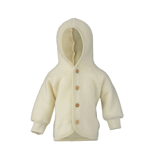 Engel Natur Wool Fleece Hooded Jacket in Natural colour