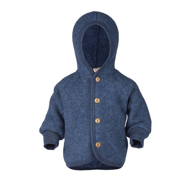 Engel Natur Wool Hooded Jacket - Blue