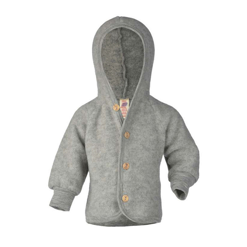 Engel Natur Wool Hooded Jacket in Grey Melange colour