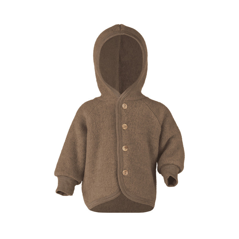 Engel Natur Wool Hooded Jacket in Walnut colour