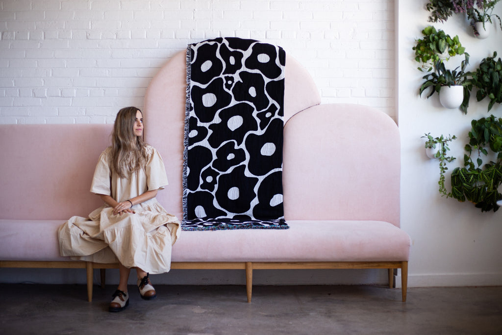 Unique design woven fabric made locally in the USA with sustainable materials