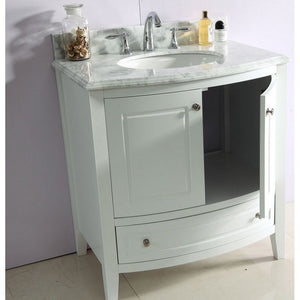 Laviva Single Sink Vanity - Free Standing, Estella 32 Inch White Cabinet with White Carrara Countertop - 32 inches W x 22 inches D x 35 inches - 3130709-32W-WC
