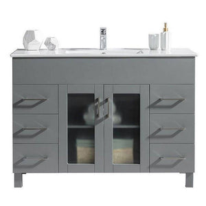 Laviva Cabinet – Premium Quality Materials, Durable & Reliable - Grey Cabinet with Ceramic Basin Countertop Nova - 48 Inch | 48 inches W x 19 inches D x 34 inches H - 31321529-48G-CB