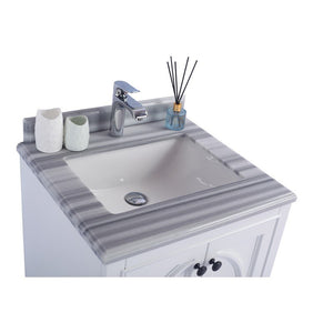 Laviva Single Sink Vanity - Odyssey 24 Inch White Cabinet with White Stripes Countertop - 24 inches W x 22 inches D x 35 inches H - 313613-24W-WS