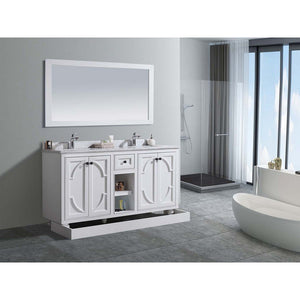 Laviva White Bathroom Vanity Cabinet With Black Wood Counter – Odyssey 60 inches W x 22 inches D x 35 inches H - 313613-60W-BW