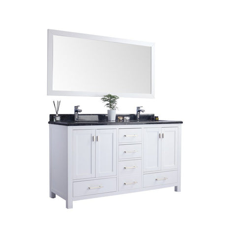 LAVIVA Double Sink Vanity, Wilson 60 Inch White Cabinet With Black Wood Countertop, Good Storage Multifunctional, 60 Inches Width X 22 Inches Depth X 35 Inches Height 313ang-60w-Bw